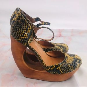 Jeffery Campbell Rock Play python print wedges 9.5